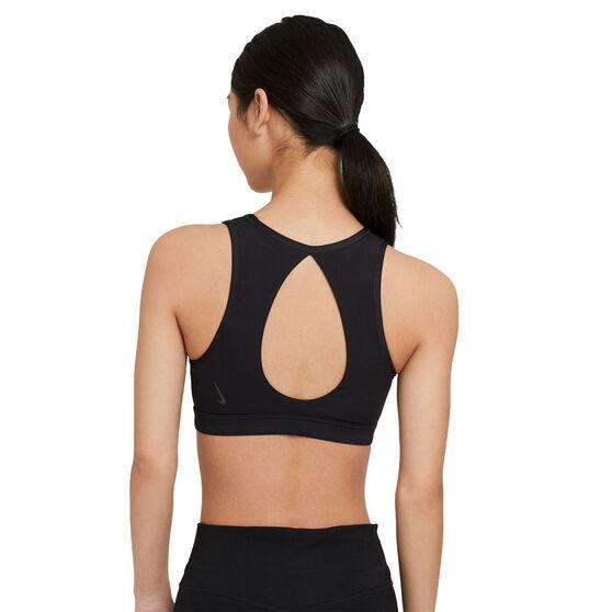 Nike Womens Yoga Dri-FIT Swoosh Medium-Support Sports Bra, Black, rebel_hi-res