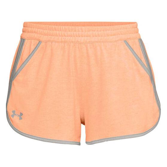 Under Armour Womens Tech Twist Shorts, Orange, rebel_hi-res