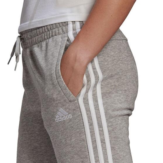 adidas Womens 3 Stripes Fleece Pants, Grey, rebel_hi-res