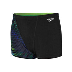 Speedo Boys Contour Aqua Shorts Black / Green 8, Black / Green, rebel_hi-res