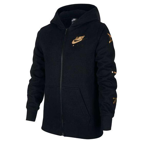 Nike Air Girls Full Zip Fleece Hoodie, Black / Gold, rebel_hi-res