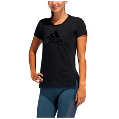 adidas Womens Glam On Badge Of Sport Tee, Black, rebel_hi-res