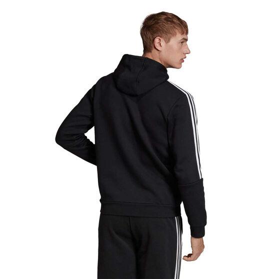 adidas Mens 3 Stripe Fleece Hoodie, Black / White, rebel_hi-res