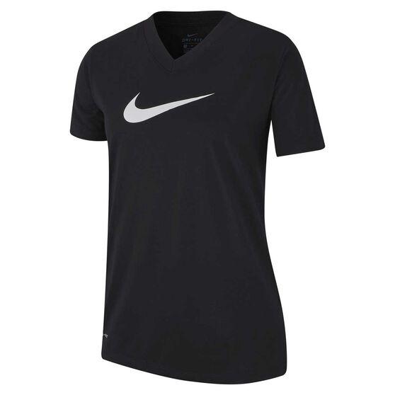 Nike Dri-FIT Girls Swoosh Training Tee, Black / White, rebel_hi-res