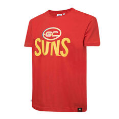 Gold Coast Suns Mens Supporter Logo Tee Red S, Red, rebel_hi-res