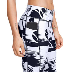 Under Armour Womens HeatGear Armour Printed Ankle Crop Tights, Black, rebel_hi-res