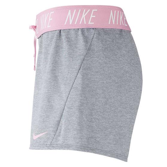 Nike Womens Dri FIT 5 Inch Training Shorts, Grey, rebel_hi-res