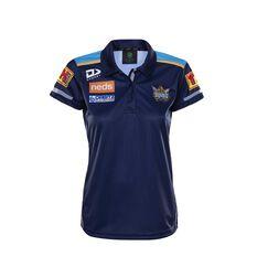 Gold Coast Titans 2020 Womens Media Polo Blue 8, Blue, rebel_hi-res