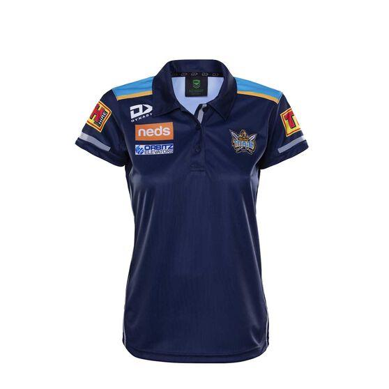 Gold Coast Titans 2020 Womens Media Polo, Blue, rebel_hi-res