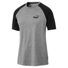 Puma Mens Essential Raglan Sportswear Tee Grey S, Grey, rebel_hi-res