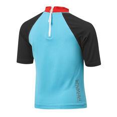 Tahwalhi Boys Short Sleeve Rash Vest Blue/Black 4, Blue/Black, rebel_hi-res