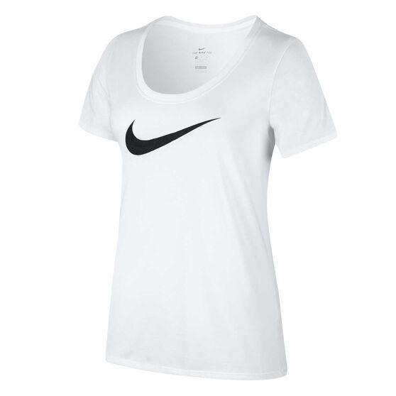 Nike Womens Dry Scoop Tee, White, rebel_hi-res