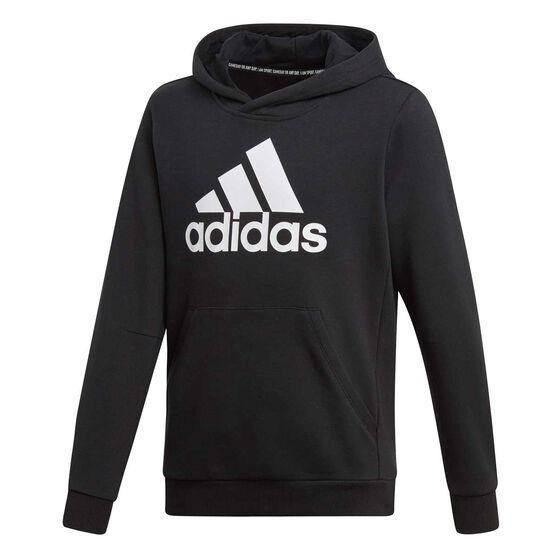 adidas Boys Must Haves Badge of Sport Hoodie, Black / White, rebel_hi-res