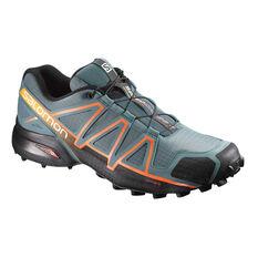 Salomon Speedcross 4 Mens Trail Trail Running Shoes Grey / Orange US 8, Grey / Orange, rebel_hi-res