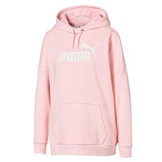 Puma Womens Essentials+ Elongated Hoodie Pink XS, Pink, rebel_hi-res