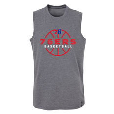 Outerstuff Youth Philadelphia 76ers Destroyer Muscle Tank Grey / Red S, Grey / Red, rebel_hi-res