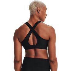 Under Armour Womens Mid Crossback Graphic Sports Bra, Black, rebel_hi-res