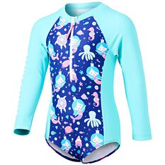 Tahwalhi Toddler Mermaid Wishes Long Sleeve Rash Vest Blue / White 4, Blue / White, rebel_hi-res