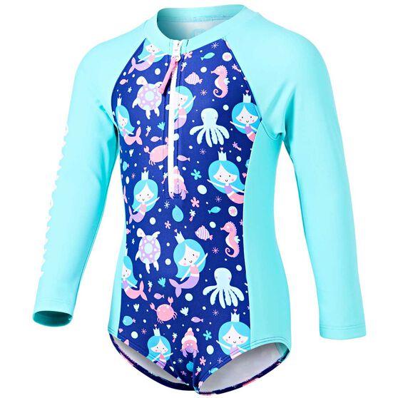 Tahwalhi Toddler Mermaid Wishes Long Sleeve Rash Vest, Blue / White, rebel_hi-res