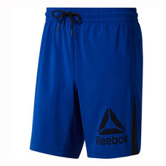 Reebok Mens Workout Ready Woven Graphic Shorts Blue S, Blue, rebel_hi-res