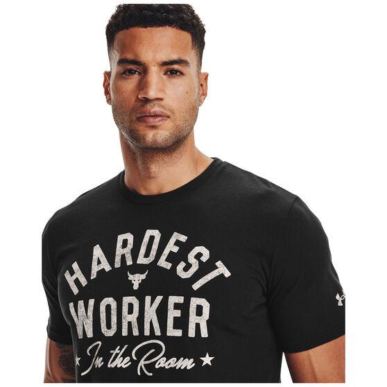 Under Armour Mens Project Rock Hardest Worker Tee, Black, rebel_hi-res