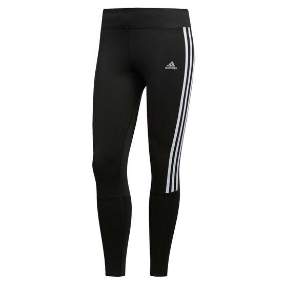 adidas Womens 3 Stripes Running Tights, Black, rebel_hi-res