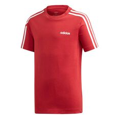 adidas Boys Essential 3 Stripes Tee Maroon / White 6, Maroon / White, rebel_hi-res
