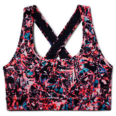 Under Armour Womens Mid Crossback Printed Sports Bra Black XS, Black, rebel_hi-res