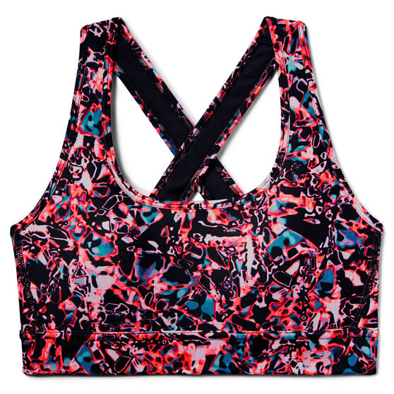 Under Armour Womens Mid Crossback Printed Sports Bra, Black, rebel_hi-res