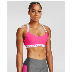 Under Armour Womens Wordmark Strappy Sportlette Sports Bra Pink XS, Pink, rebel_hi-res