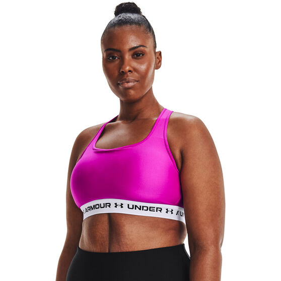 Under Armour Womens Mid Crossback Sports Bra, Pink, rebel_hi-res
