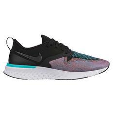 Nike Odyssey React Flyknit 2 Womens Running Shoes Black / Green US 6.5, Black / Green, rebel_hi-res