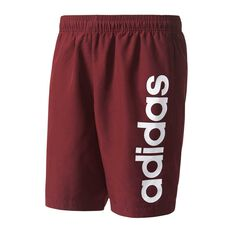 adidas Mens Essential Linear Chelsea Shorts Maroon / White S Adult, Maroon / White, rebel_hi-res