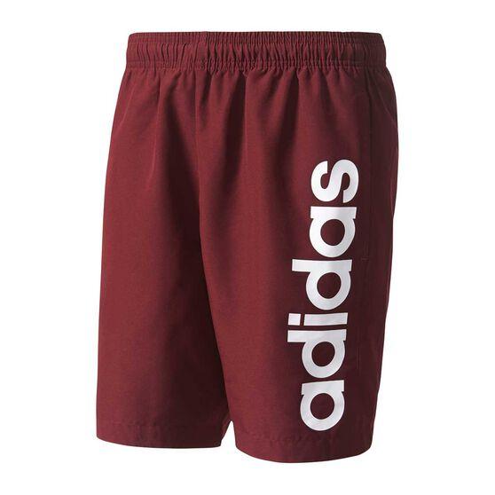 3f8c005d053852 adidas Mens Essential Linear Chelsea Shorts Maroon   White XXL Adult ...