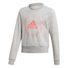 adidas Girls Bold Crew Sweatshirt, Grey/Pink, rebel_hi-res