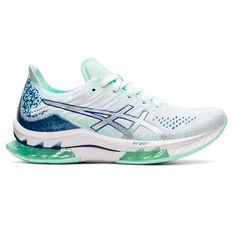 Asics Kinsei Blast Womens Running Shoes White/Blue US 7, White/Blue, rebel_hi-res