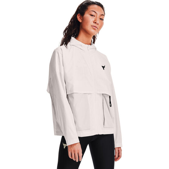 Under Armour Womens Project Rock Woven Jacket, White, rebel_hi-res