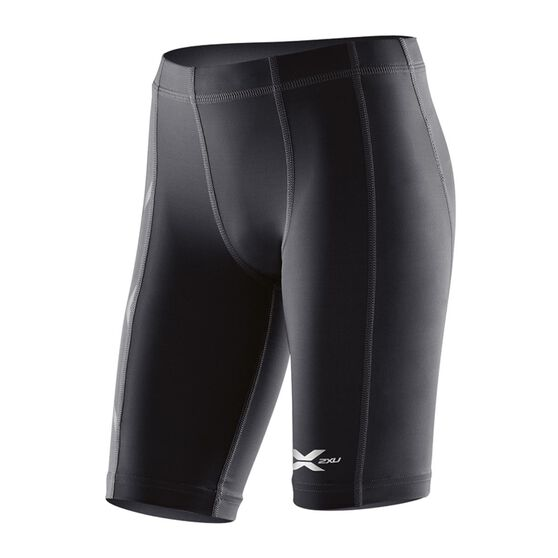 2XU Boys Compression Shorts, Black / Silver, rebel_hi-res