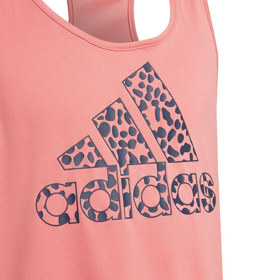 adidas Girls Designed To Move Leopard Tank, Pink, rebel_hi-res