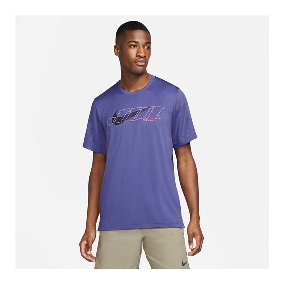 Nike Mens Sport Clash Training Tee, Purple, rebel_hi-res