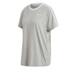 adidas Womens Essentials 3 Stripes Boyfriend Tee Grey XS, Grey, rebel_hi-res