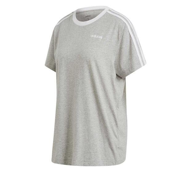 adidas Womens Essentials 3 Stripes Boyfriend Tee, Grey, rebel_hi-res
