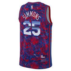 Nike Philadelphia 76ers Ben Simmons 2021 Mens ROY Select Jersey Blue S, Blue, rebel_hi-res