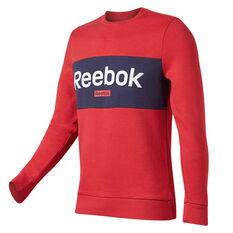Reebok Mens Training Essentials Linear Logo Sweatshirt Red S, Red, rebel_hi-res