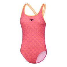 Speedo Girls Boom Splashback Swimsuit, Pink, rebel_hi-res