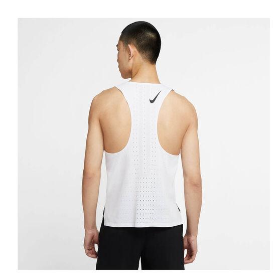 Nike Mens AeroSwift Running Tank, White, rebel_hi-res