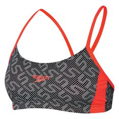 Speedo Womens Monogram Swim Top Black 8 Adults, Black, rebel_hi-res