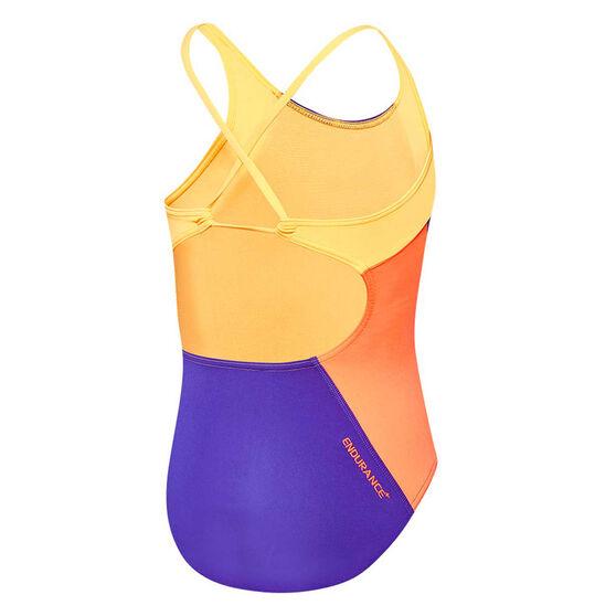 Speedo Girls Splice Cross Back Swimsuit Purple / Orange 12, Purple / Orange, rebel_hi-res