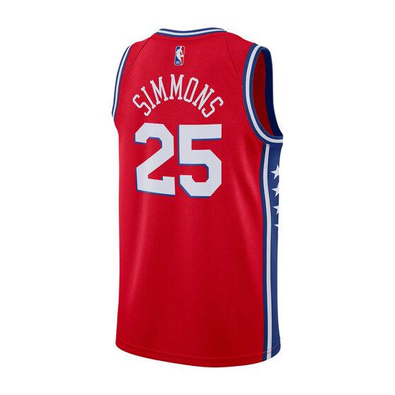 Nike Philadelphia 76ers Ben Simmons 2019/20 Mens Alternate Swingman Jersey, Red, rebel_hi-res