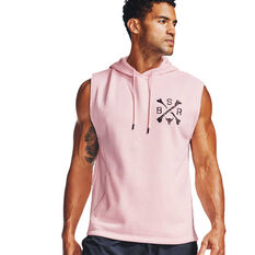 Under Armour Mens Project Rock Charged Cotton Sleeveless Hoodie, Purple, rebel_hi-res